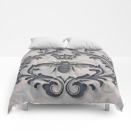 Pink and Gray Vintage Damask French Bee Comforters