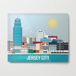 Jersey City, New Jersey - Skyline Illustration by Loose Petals Metal Print