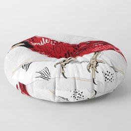 Cardinal Bird Lost Loved One Visiting Floor Pillow