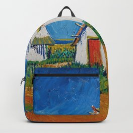 Three white cottages in Saintes-Maries by Vincent van Gogh Backpack