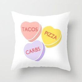 Funny Conversation Hearts Candy Throw Pillow