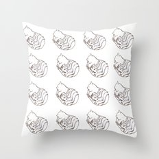 Brush Pen Drawing Of A Domestic Cat Pattern Throw Pillow
