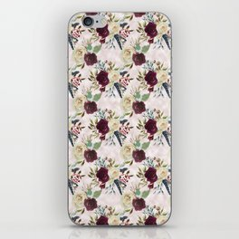 Boho Watercolour Roses Burgundy, Peach and Life Quote iPhone Skin