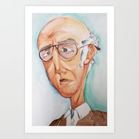 larry david Art Prints featuring King Larry David by Kendall Sudduth