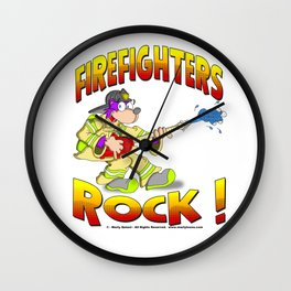 FIRE FIGHTERS ROCK Vibrant Haltone Edition Wall Clock