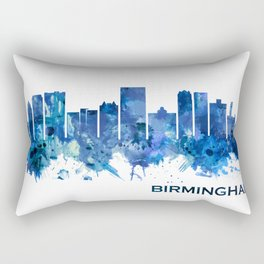 Birmingham Alabama Skyline Blue Rectangular Pillow