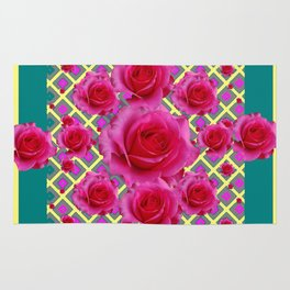 Fuchsia Roses  TEAL Art Pattern Abstract Rug