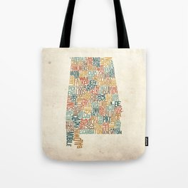 Alabama by County Tote Bag