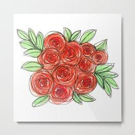 Watercolor Orange Rose Bouquet Metal Print