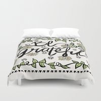 grateful dead Duvet Covers featuring Be Grateful by Pom Graphic Design