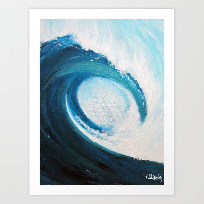 Flower of life in a wave Art Print