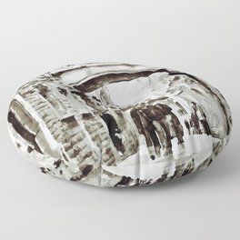Carrer del Bisbe - Barcelona Black and White Floor Pillow