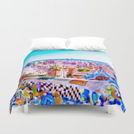 Park Guell Watercolor painting Duvet Cover