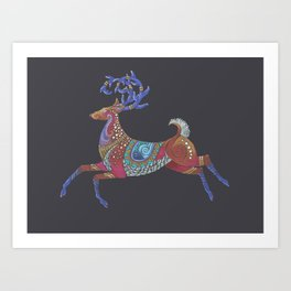 Cute Stag Art, Colourful Boho Reindeer Art Art Print