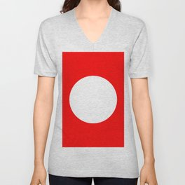 White circle on red Unisex V-Neck