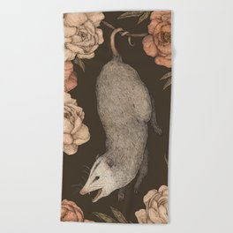 The Opossum and Peonies Beach Towel