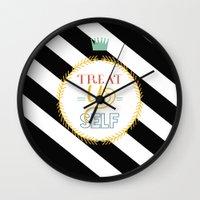 treat yo self Wall Clocks featuring Treat Yo Self by Homme Sur La Lune