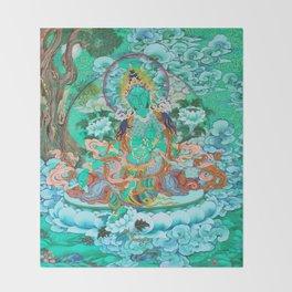 Green Tara Throw Blanket