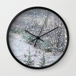 Deer Path in Winter Wall Clock