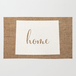Wyoming is Home - White on Burlap Rug