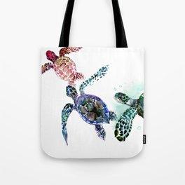 Sea Turtle Family, family art Tote Bag