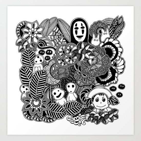 Ghibli inspired black and white doodle art art print by martywoodskk society6