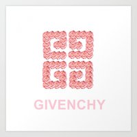 givenchy Art Prints featuring Givenchy Roses by I Love Decor