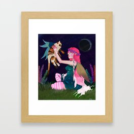 Moon lit play time  Framed Art Print