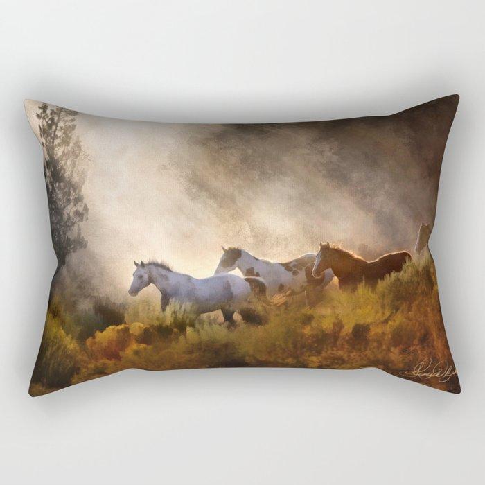 Horses in a Golden Meadow by Georgia M Baker Rectangular Pillow