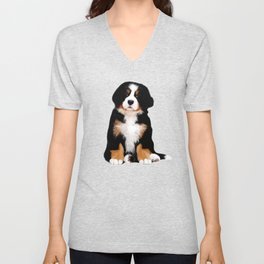 Bernese mountain dog puppy Unisex V-Neck
