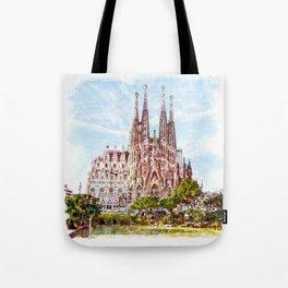 La Sagrada Familia watercolor Tote Bag
