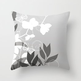 Pantone Pewter Gray Botanicals and Butterflies Graphic Design Throw Pillow
