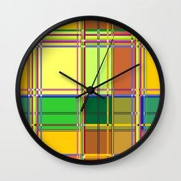 Caribbean Colorful Fabric Madras Tartan Wall Clock