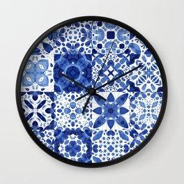 Indigo Watercolor Tiles Wall Clock