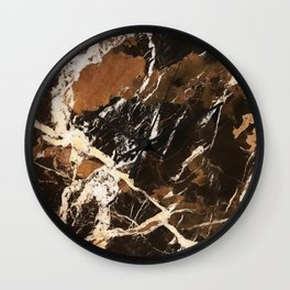 Sienna Brown and Black Marble With Creamy Veins Wall Clock