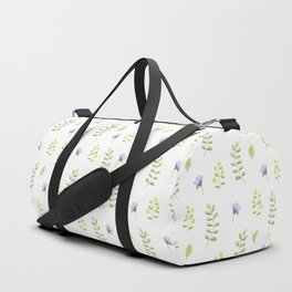 Hand painted modern violet green watercolor floral Duffle Bag