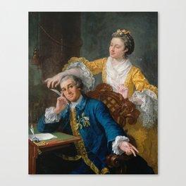 David Garrick with his wife Eva-Maria Veigel, La Violette or Violetti by William Hogarth Canvas Print
