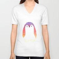 penguin V-neck T-shirts featuring Penguin by Alexandra Duma D.