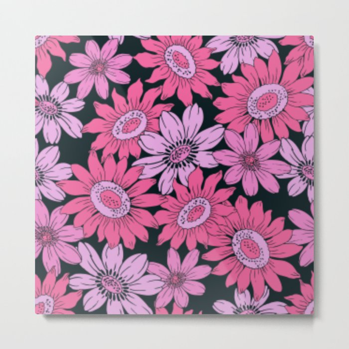 Retro Pink Flowers w/Black Background Metal Print