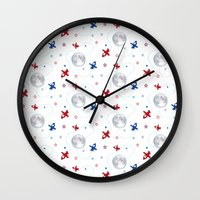 airplanes Wall Clocks featuring Little Toy Airplanes on White by Art Tree Designs