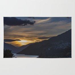 Sunset on Queenstown and Lake Wakatipu Rug