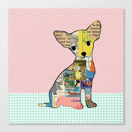 Cute Chihuahua Dog Collage with polka dots Canvas Print