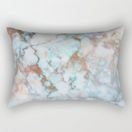 Rose Marble with Rose Gold Veins and Blue-Green Tones Rectangular Pillow