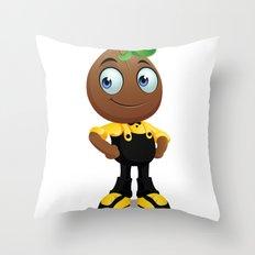 Cute coffee bean cartoon black yellow Throw Pillow