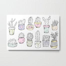 Cacti, sketch doodle. Metal Print