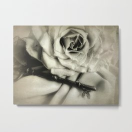 Faded Rose and Old Key Vintage Style Modern Country Cottage A440 Metal Print