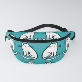 White cats on teal Fanny Pack