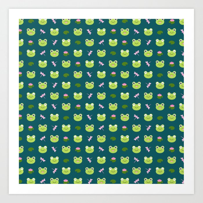 Frogs, Dragonflies and Lilypads on Teal Art Print