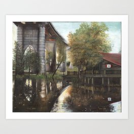 Conway Bridge and Warehouse Riverscape Art Print