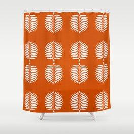 TROPICAL PALMS . ORANGE + WHITE Shower Curtain